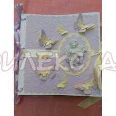 Лилава книга за пожелания с обемно ангелче