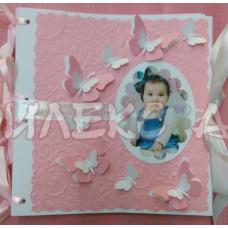 Книга за пожелания с лична снимка в розово