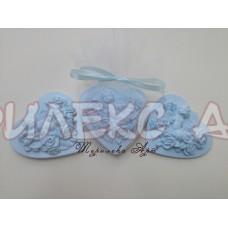 Ангелче с цветя в синьо за кръщене-подаръци за Вашите гости