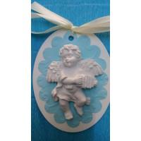 Подарък за гости за кръщене 3Д магнит-ангелче в синьо
