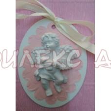 Подарък за гости за кръщене 3Д магнит-ангелче в розово