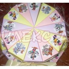 Весела хартиена торта с Мики и Мини Маус и Том и Джери