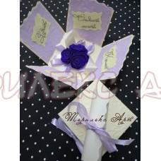 Експодираща картичка-кутийка в лилаво
