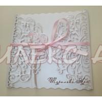 Луксозна сватбена покана в бяла перла