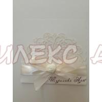 Сватбена покана в бяла перла и сатен